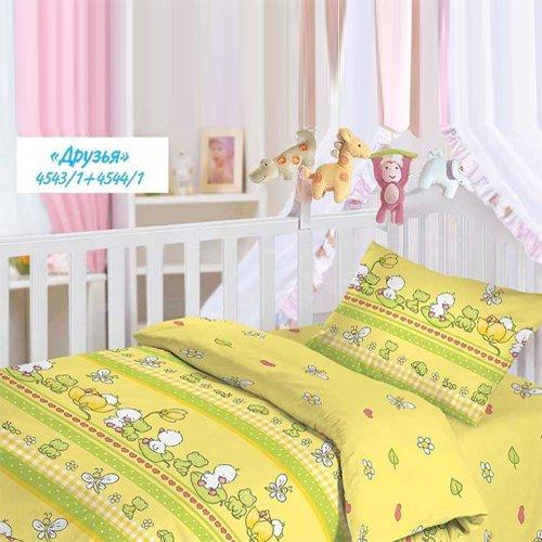 Детское постельное белье Облачко с резинкой на простыне Друзья (бязь-люкс)