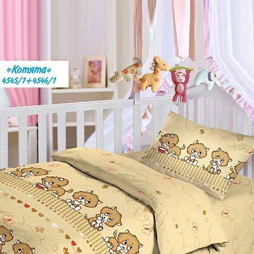 Детское постельное белье Облачко с резинкой на простыне Котята (бязь-люкс)