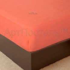 Простыня на резинке Арт-постель махровая персик (хлопок)
