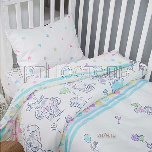Детское постельное белье Арт-постель Слоники (поплин)