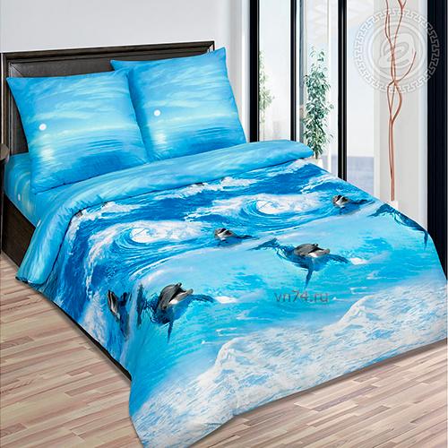 Постельное белье Арт-постель Дельфины (поплин)