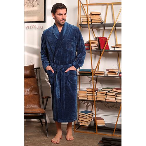 Халат мужской велюровый HARVARD джинс (бамбук)