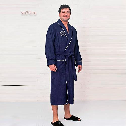 Халат мужской махровый Bamboo синий (бамбук)