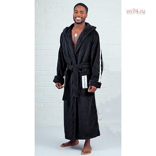 Халат мужской махровый с капюшоном FORSAJ черный (бамбук)