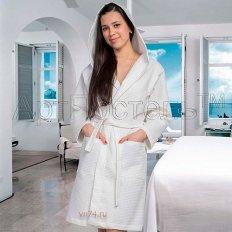 Халат женский банный с капюшоном вафельный белый