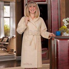 Халат женский банный с капюшоном вафельный бежевый