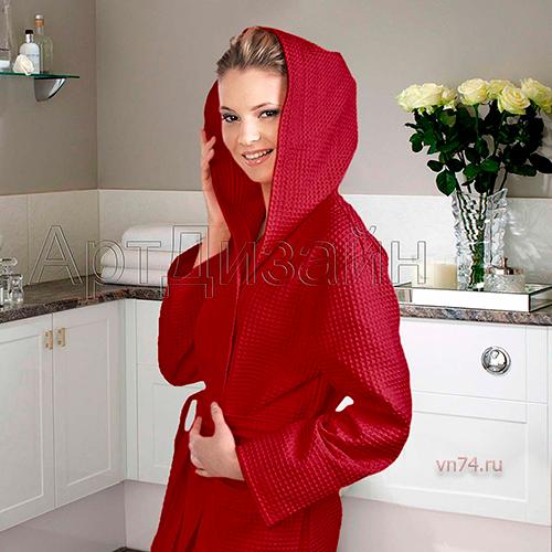Халат женский банный с капюшоном вафельный бордо