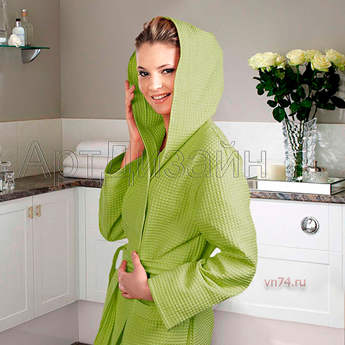 Халат женский банный с капюшоном вафельный фисташка