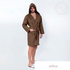 Халат мужской банный с капюшоном вафельный коричневый