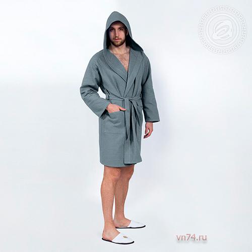 Халат мужской банный с капюшоном вафельный серый