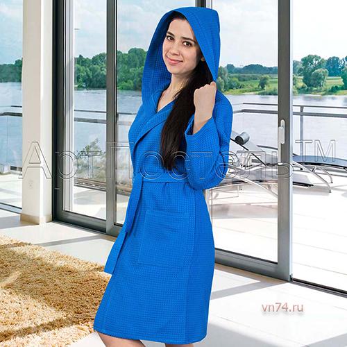 Халат женский банный с капюшоном вафельный синий