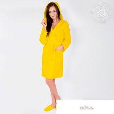 Халат женский банный с капюшоном вафельный желтый