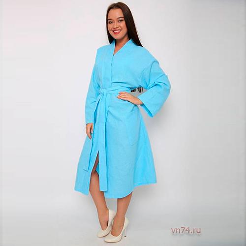 Халат женский банный вафельный голубой