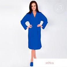 Халат женский банный вафельный синий