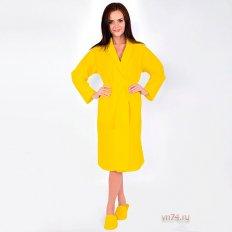 Халат женский банный вафельный желтый
