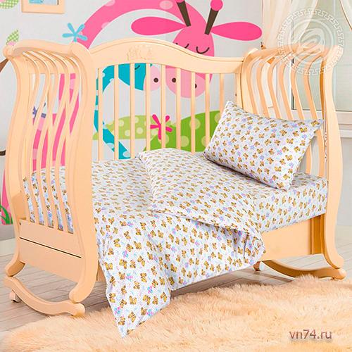 Детское постельное белье с резинкой на простыне Арт-постель Мишутка (трикотаж)