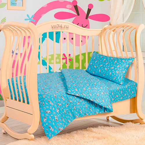 Детское постельное белье с резинкой на простыне Арт-постель Зайка (трикотаж)