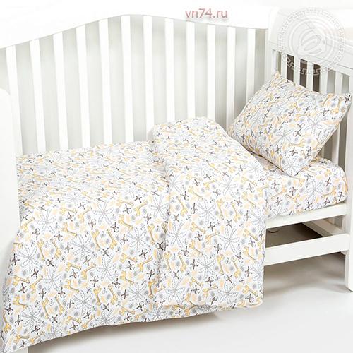 Детское постельное белье с резинкой на простыне Арт-постель Жирафчик (трикотаж)