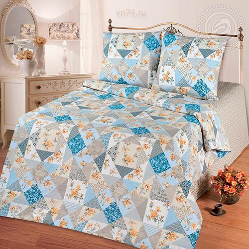 Постельное белье Арт-постель Лоскутная мозаика голубая (бязь-люкс)