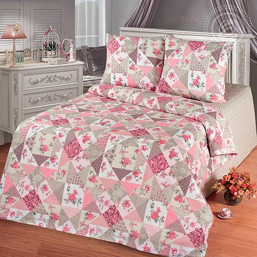 Постельное белье Арт-постель Лоскутная мозаика розовая (бязь-люкс)