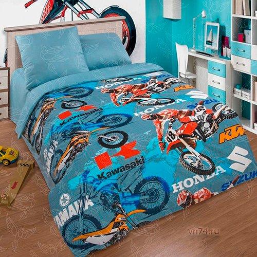 Детское постельное белье Арт-постель Мотокросс (поплин)