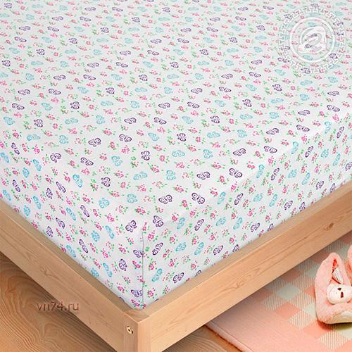 Простыня трикотажная на резинке Арт Дизайн бабочки (хлопок)