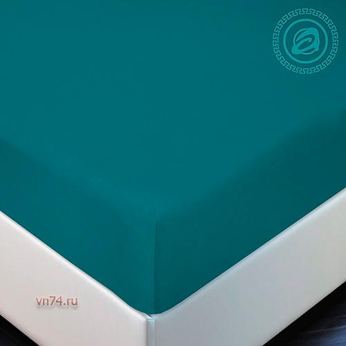 Простыня трикотажная на резинке Арт Дизайн бирюза (хлопок)