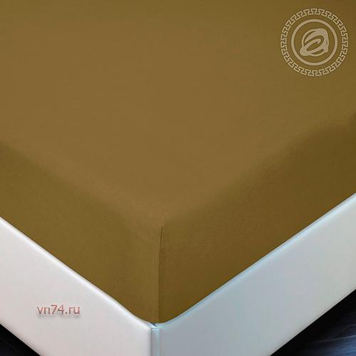 Простыня трикотажная на резинке Арт Дизайн горчица (хлопок)