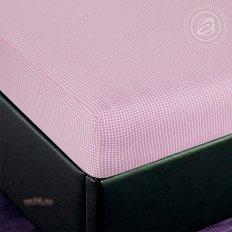 Простыня трикотажная на резинке Арт Дизайн клетка розовая (хлопок)