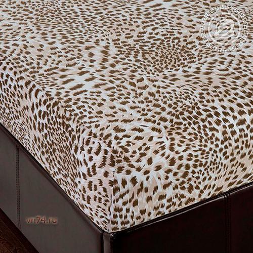 Простыня трикотажная на резинке Арт Дизайн леопард (хлопок)