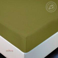 Простыня трикотажная на резинке Арт Дизайн олива (хлопок)