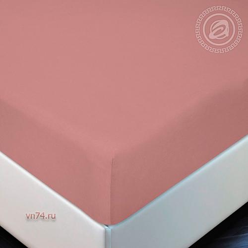 Простыня трикотажная на резинке Арт Дизайн терракот (хлопок)