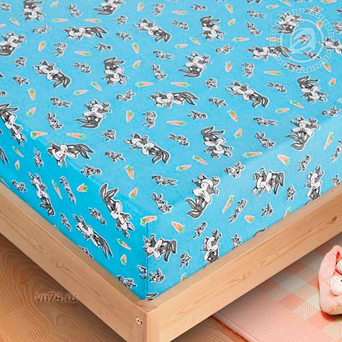 Простыня трикотажная на резинке Арт Дизайн зайка (хлопок)