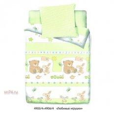Детское постельное белье Маленькая Соня Любимые игрушки зеленый (поплин)