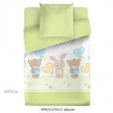 Детское постельное белье Маленькая Соня с резинкой на простыне Друзья зеленый (поплин)