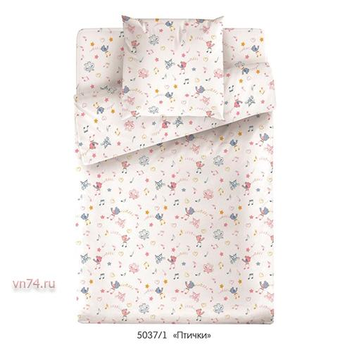 Детское постельное белье Маленькая Соня с резинкой на простыне Птички (поплин)