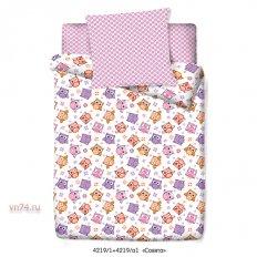 Детское постельное белье Маленькая Соня с резинкой на простыне Совята (поплин)