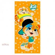Полотенце махровое 44 Котенка Мальчики оранжевый