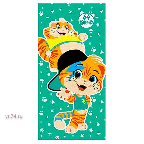 Полотенце махровое 44 Котенка Мальчики зеленый