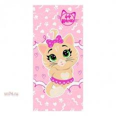 Полотенце махровое 44 Котенка Пилу розовый