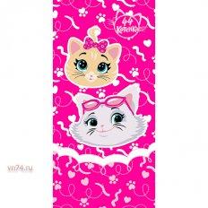 Полотенце махровое 44 Котенка Девочки фукс