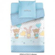 Детское постельное белье Маленькая Соня Друзья голубой (поплин)
