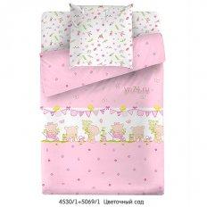 Детское постельное белье Маленькая Соня с резинкой на простыне Цветочный сад розовый (поплин)