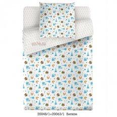 Детское постельное белье Маленькая Соня с резинкой на простыне Вигвам голубой (поплин)