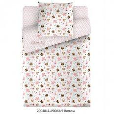 Детское постельное белье Маленькая Соня с резинкой на простыне Вигвам розовый (поплин)
