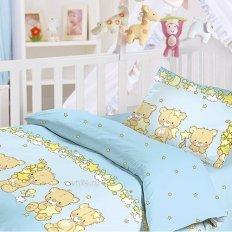 Детское постельное белье Облачко с простыней на резинке Мишки-малышки (бязь-люкс)