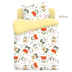 Детское постельное белье Непоседа с простынёй на резинке Лесные пушистики (поплин)