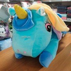 Детская подушка-плед Единорог голубой