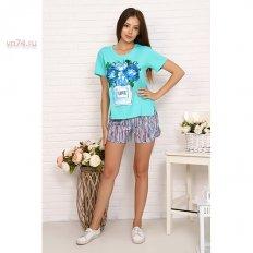 Пижама женская кулирка 15503 ментол