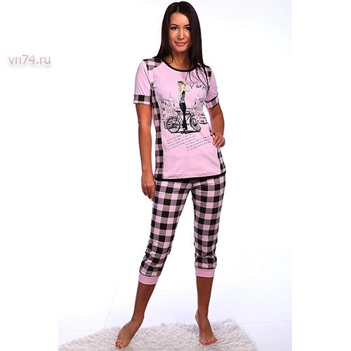 Пижама женская Влада кулирка розовый